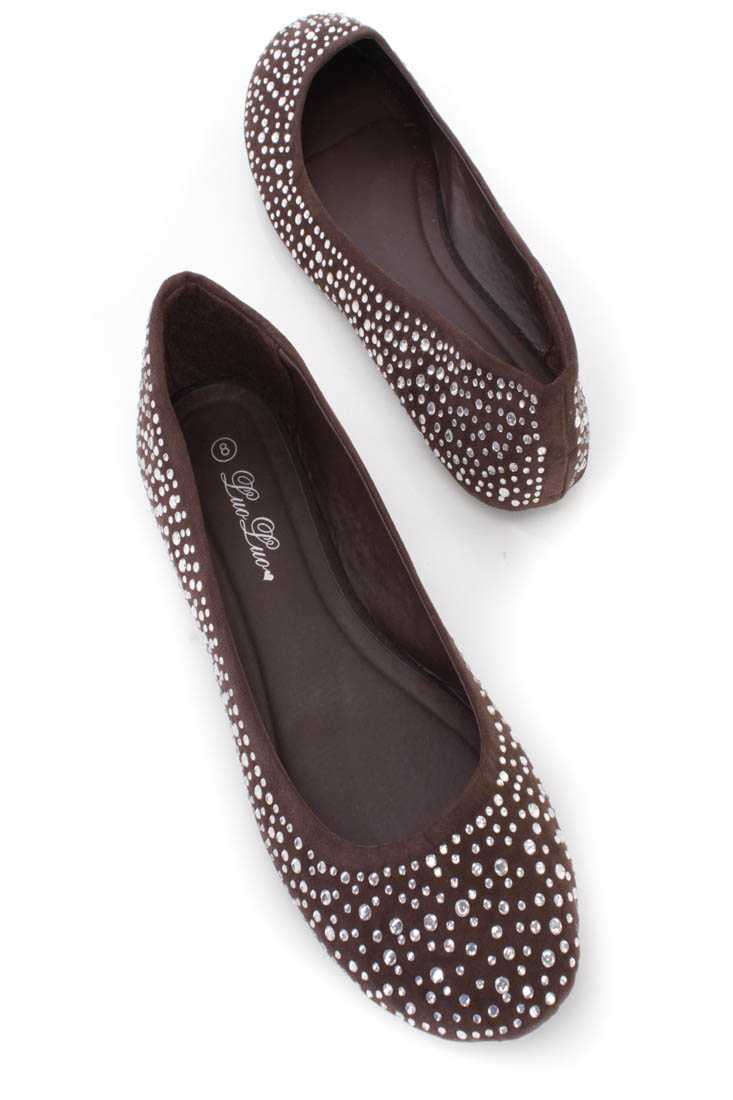 Dark Brown Rhinestone Closed Toe Flats Faux Suede