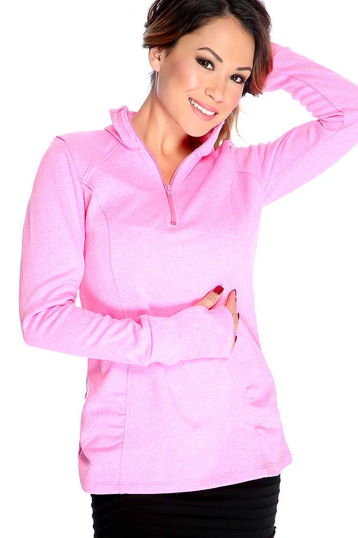 Pink Long Sleeves Front Zipper Closures Mock Neck Sweater