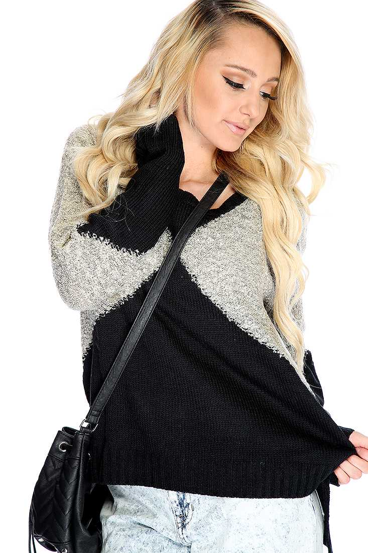 Beige Black Two Tone Knitted Sweater Top
