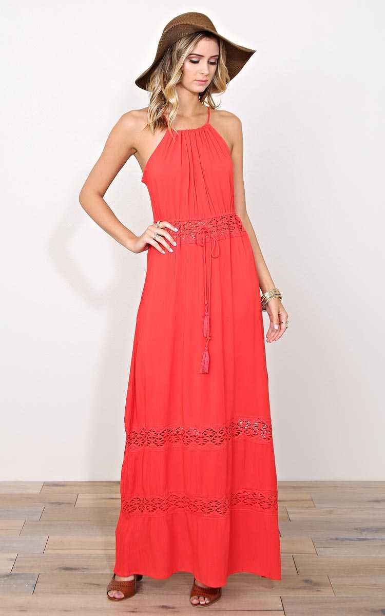 Beautiful Sunset Woven Maxi Dress - LGE - Coral in Size Large by Styles For Less
