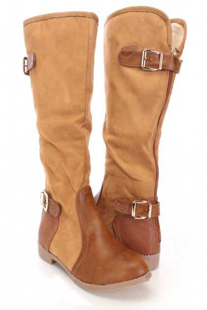 Camel Mid Calf Strappy Boots Faux Suede Leather