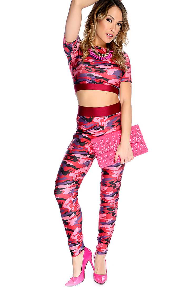 Pink Camoflauge Long Sleeves Two Tone 2 Piece Outfit