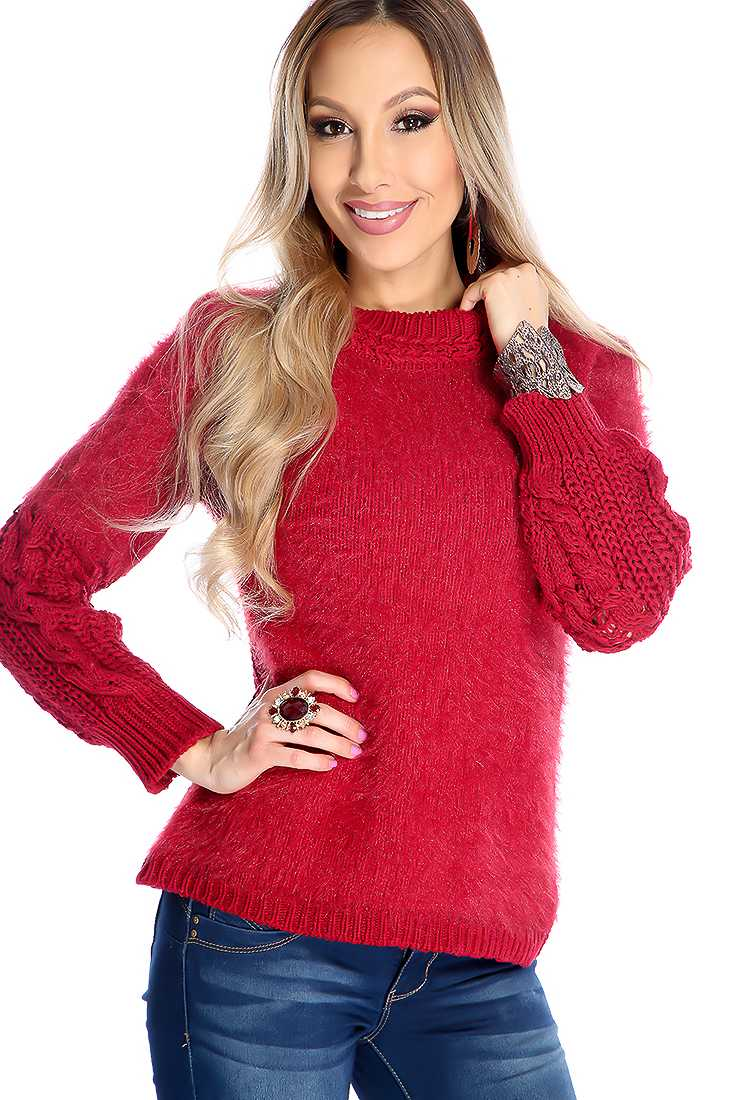 Wine Long Sleeve Mo Hair Bodice Knitted Sweater