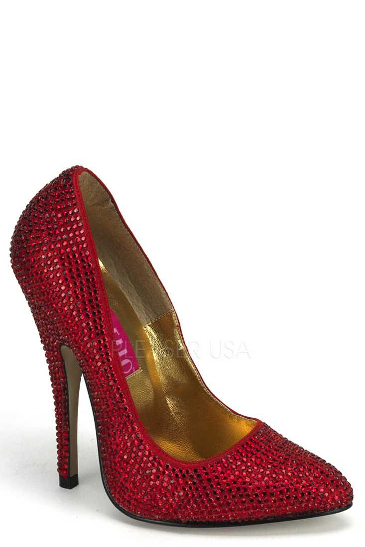 Red Rhinestone Single Sole Pump High Heels Faux Suede