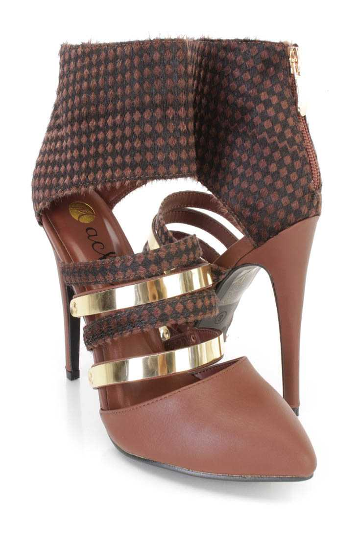 Brown Checker Print Faux Fur Single Sole Heels Faux Leather