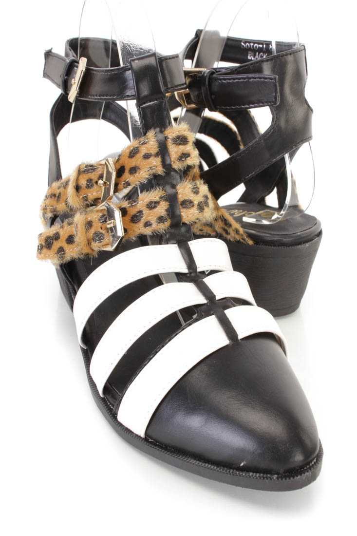 Black White Strappy Animal Buckle Flats Faux Leather