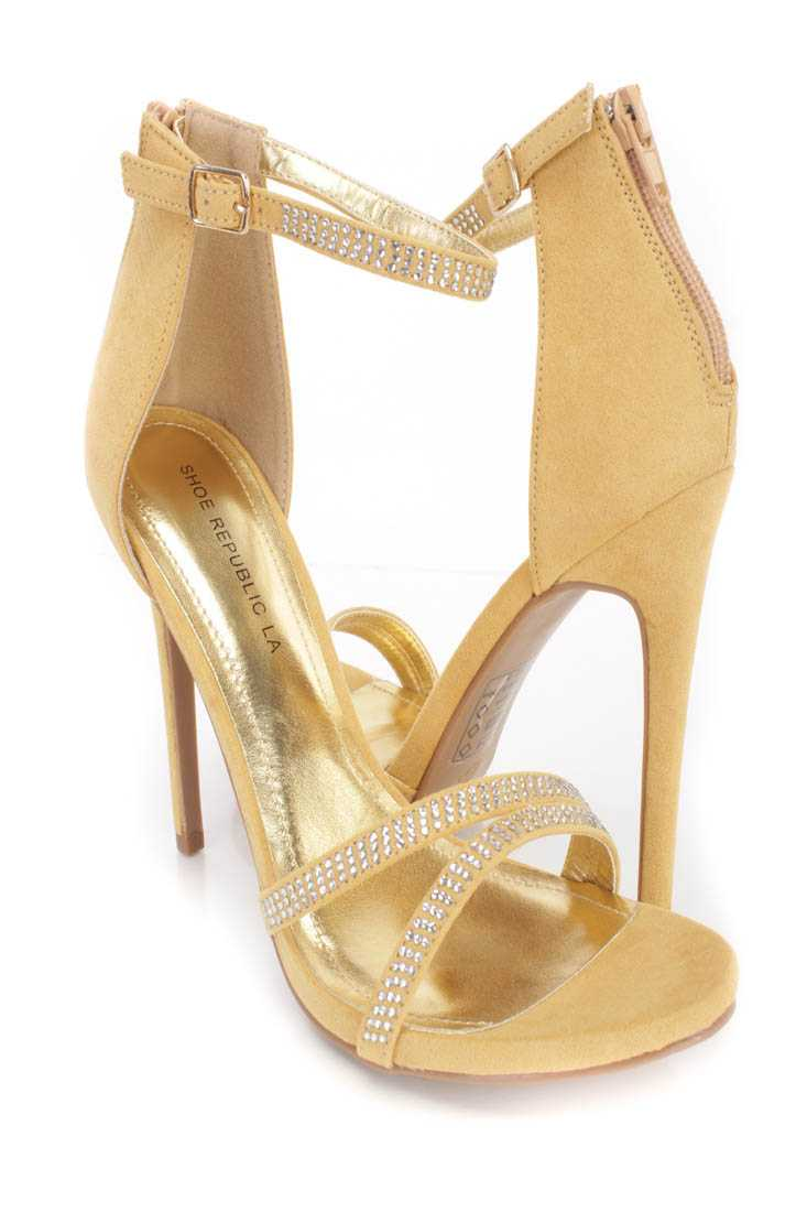 Gold Rhinestone Single Sole High Heels Faux Suede