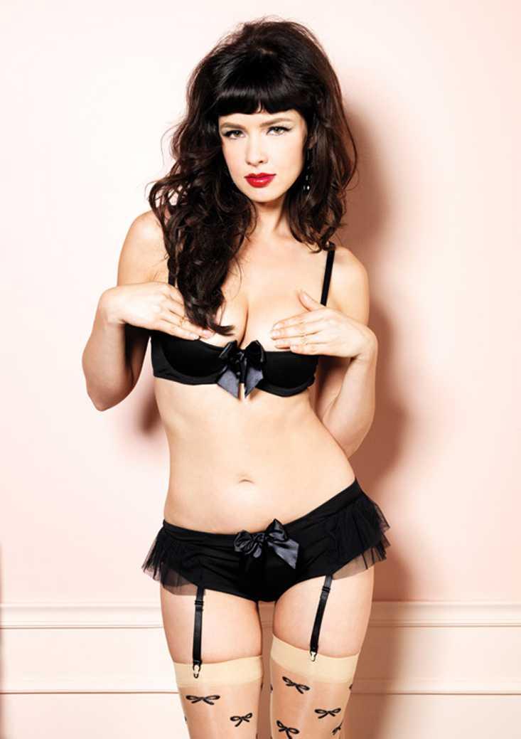 Black Shelf Bra Garter Panty Undergarment Set