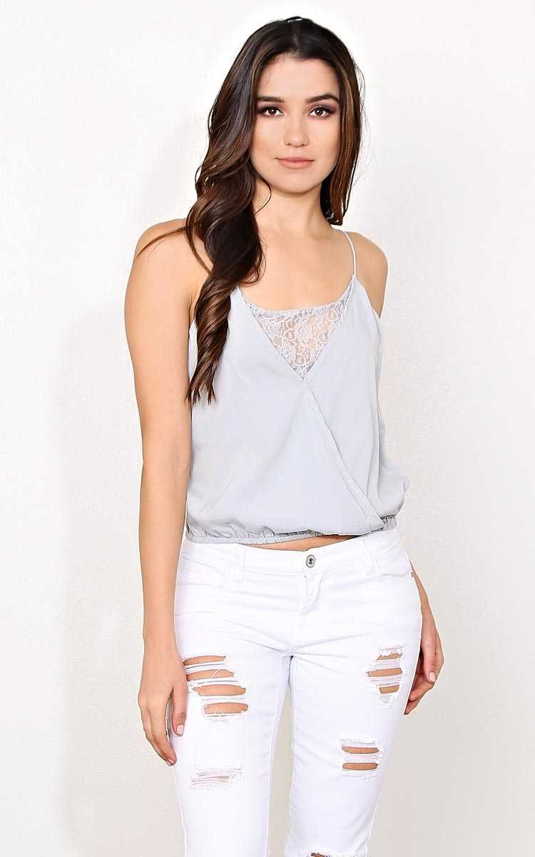 Layla Lace Inset Woven Tank - LGE - Silver in Size Large by Styles For Less