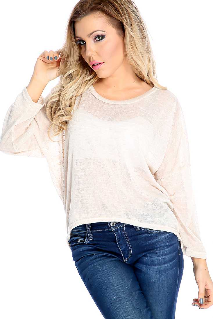 Stylish Beige Long Sleeve Lightweight Material Casual Top