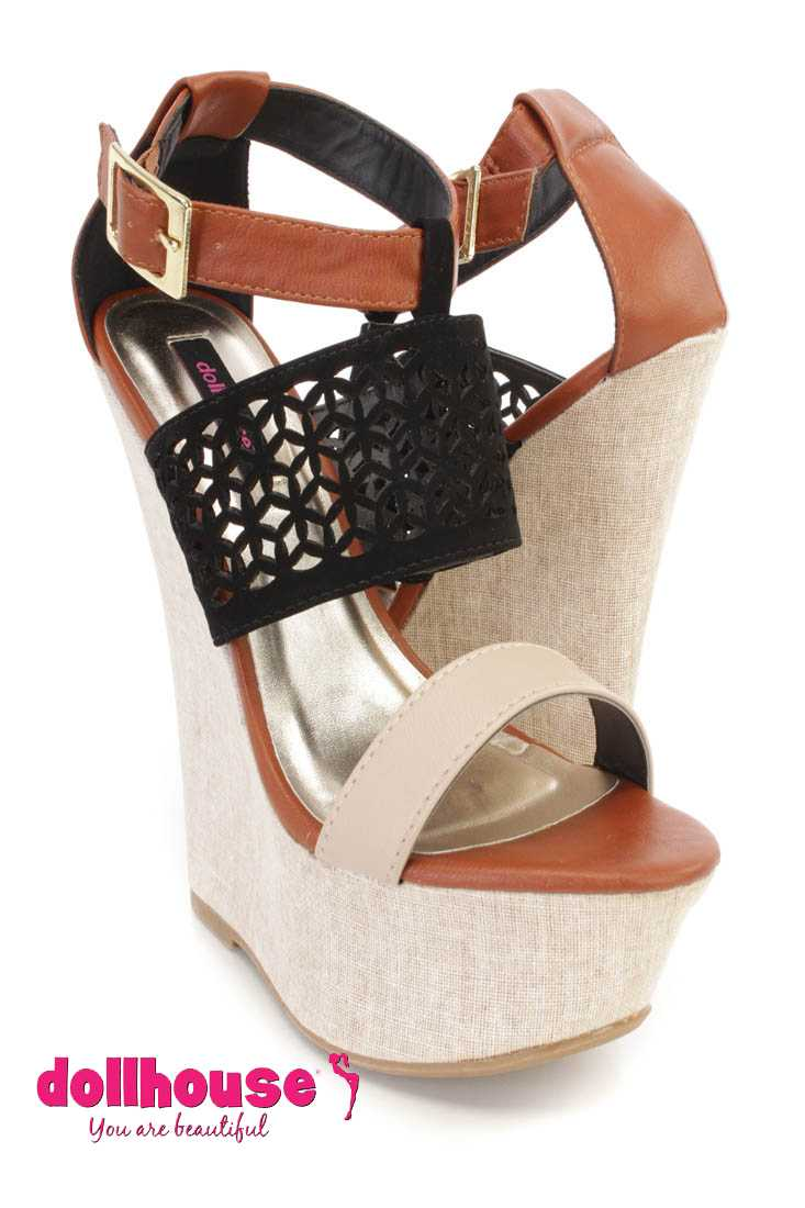 Black Perforated Strappy Platform Wedges Faux Leather