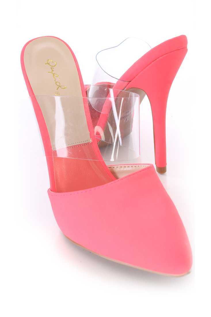 Neon Coral Clear Mid Strap Slip On Single Sole High Heels Nubuck