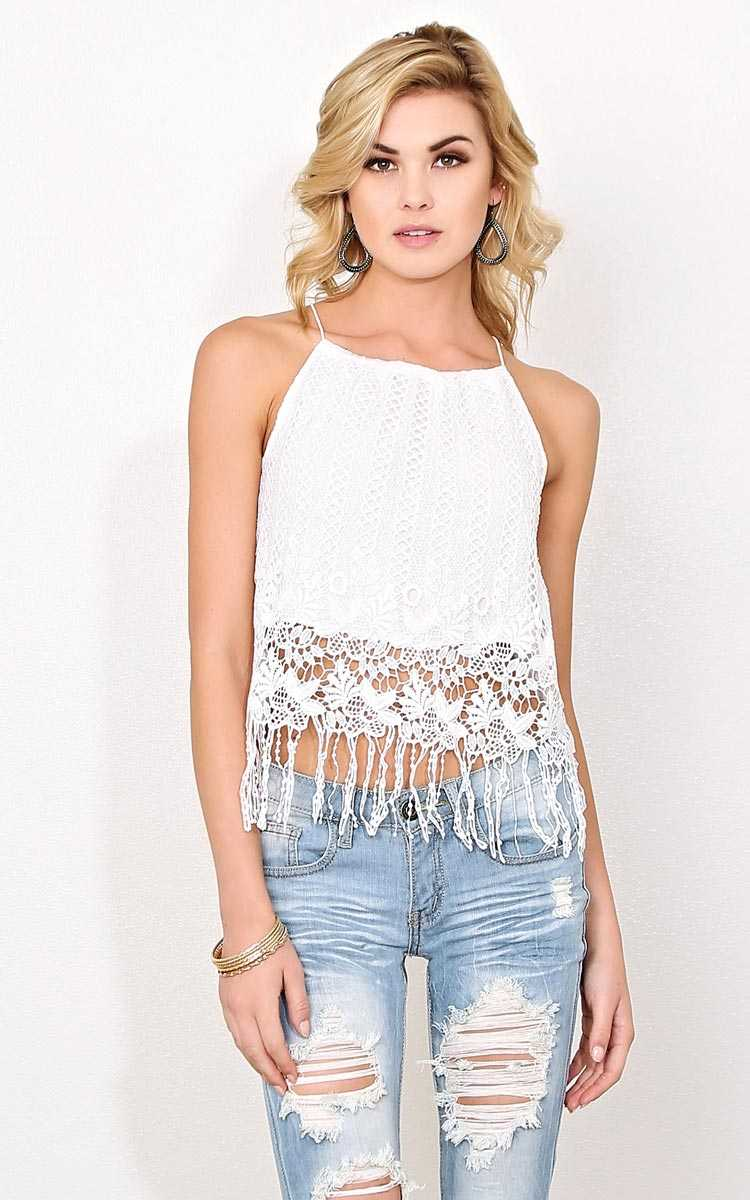 Festival Fringe Woven Tank - - White in Size by Styles For Less