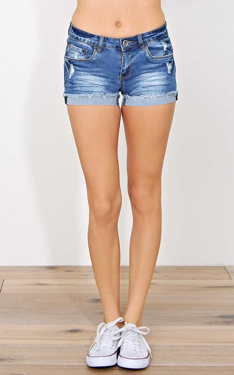 Monterey Distressed Denim Shorts - Med Wash in Size by Styles For Less