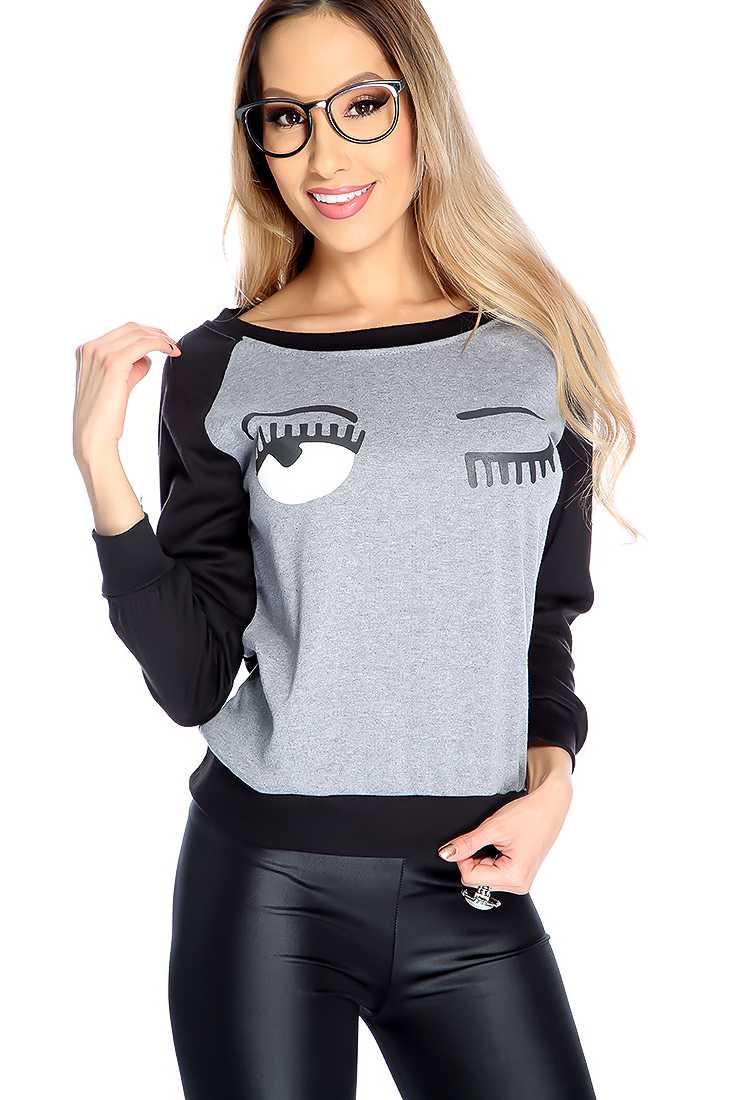 Grey Black Wink Print Long Sleeve Casual Top
