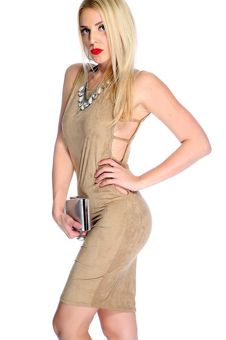 Sexy Tan Strappy Cut Out Sleeveless Party Dress