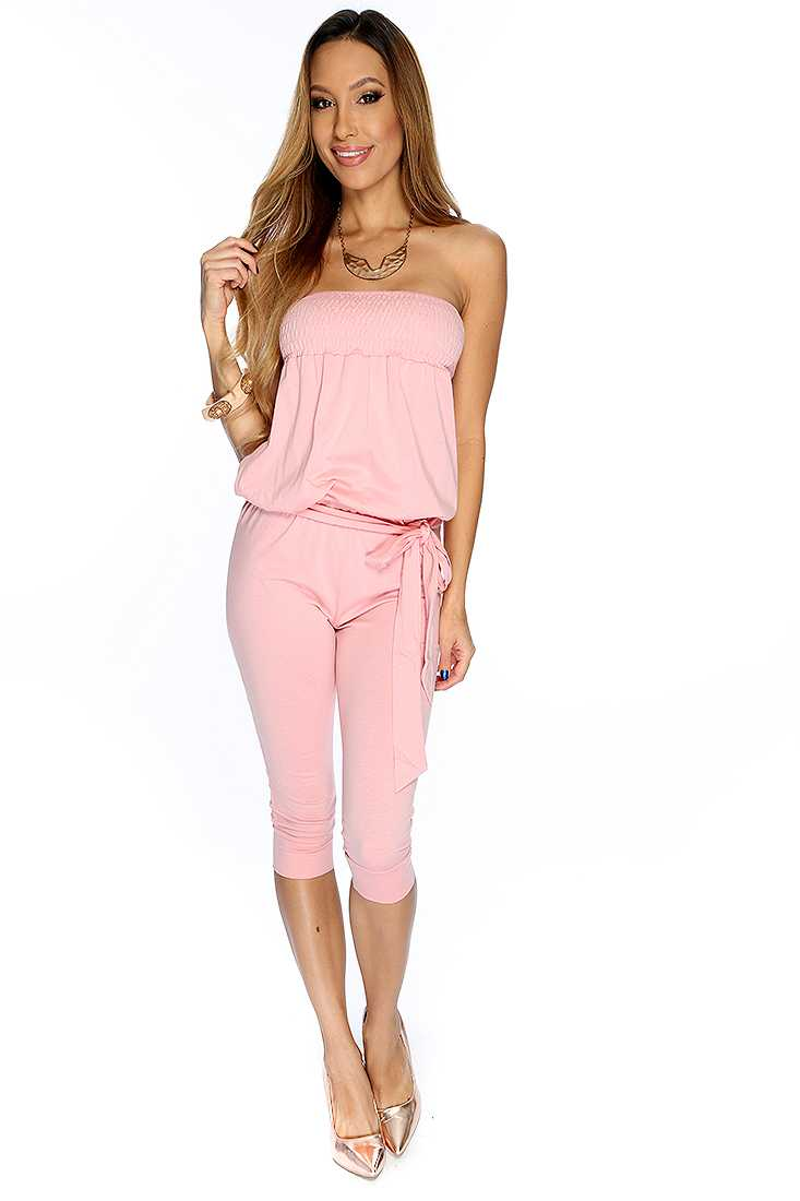 Pink Strapless Summer Cute Casual Midi Jumpsuit