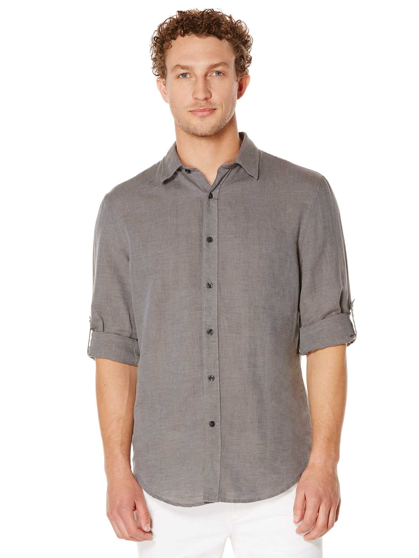 Perry Ellis Rolled Sleeve Linen Shirt