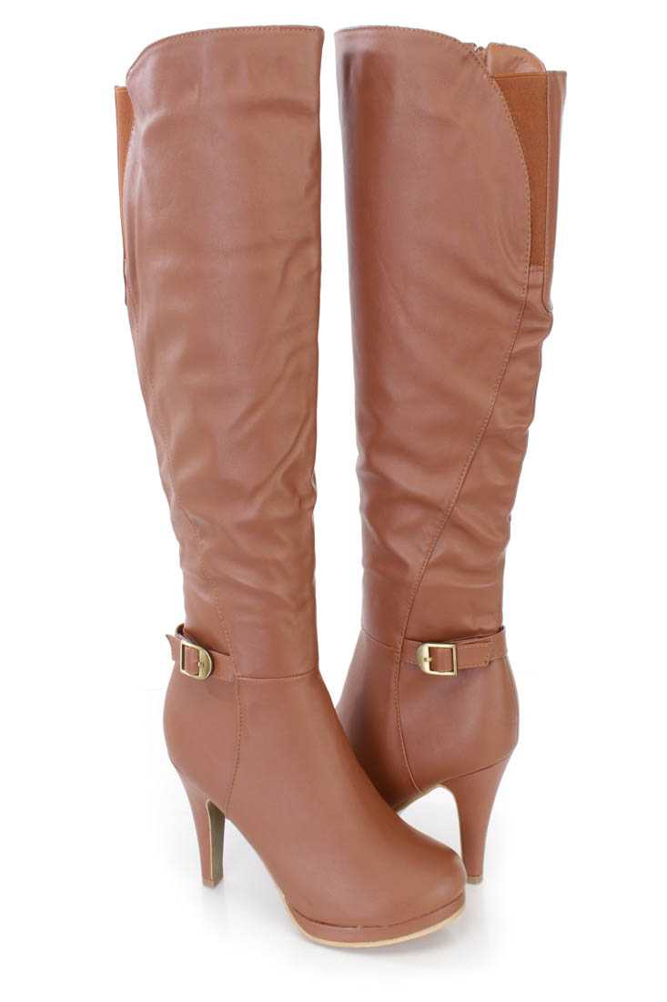 Tan Strappy High Heel Boots Faux Leather