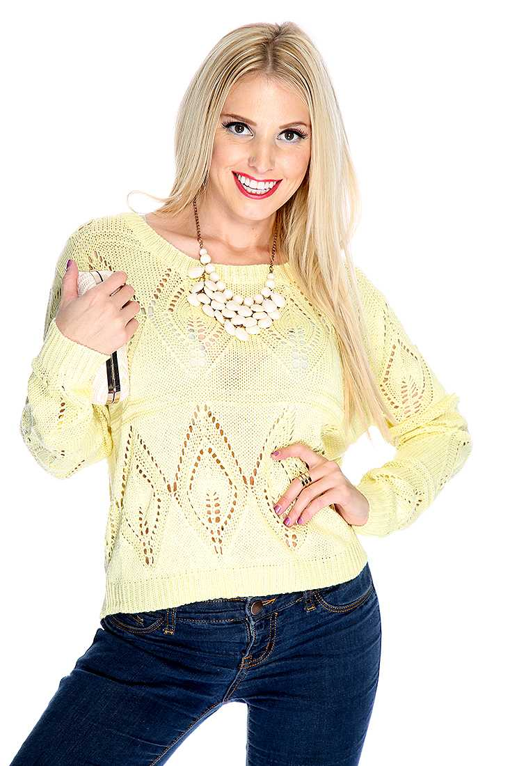 Yellow Open Knitted Sweater Top