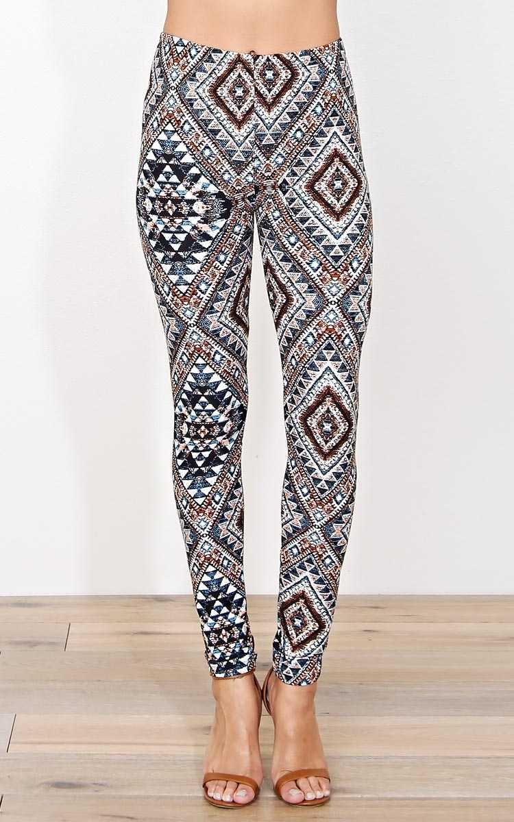 Mosaic Aztec Soft Knit Leggings - N/S - Brown Comb by Styles For Less