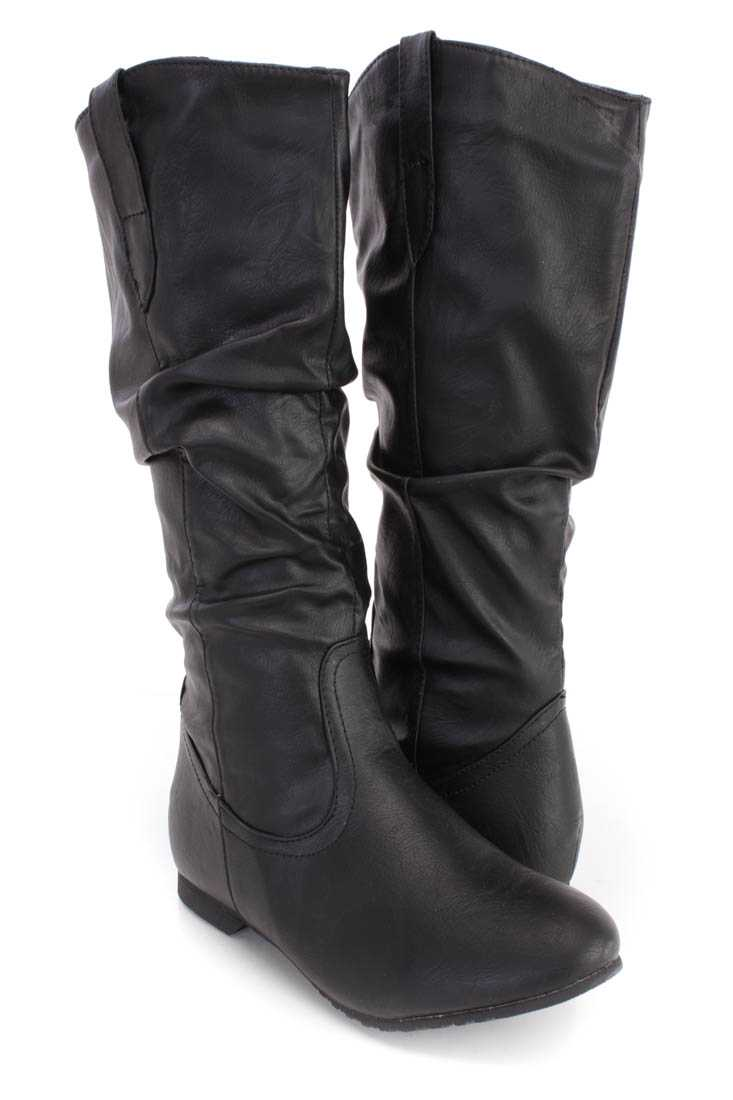 Black Slouchy Mid Calf Riding Boots Faux Leather