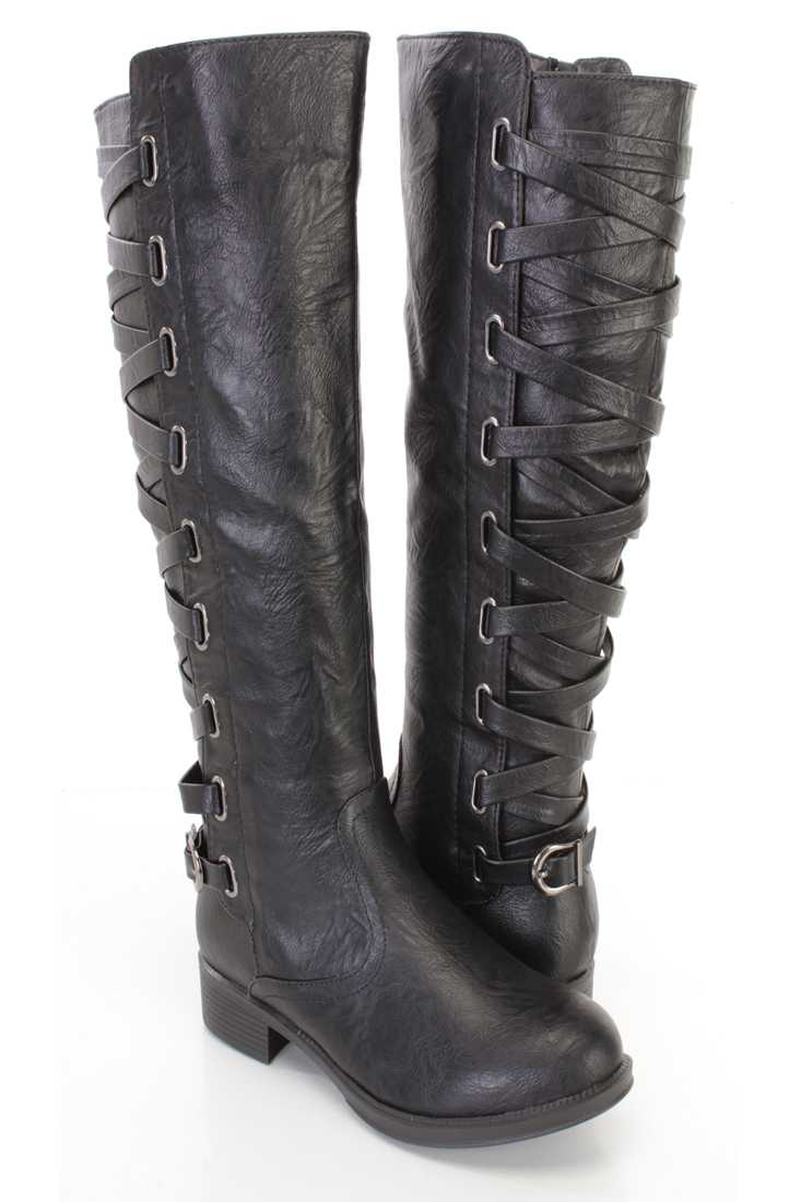 Black Lace Up Shaft Ridding Boots Faux Leather