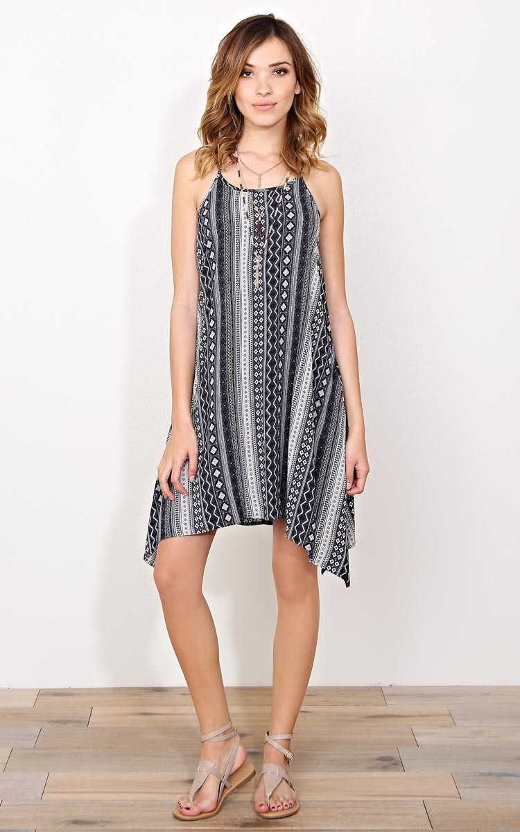 Alani Crochet Back Woven Dress - - Black Combo in Size by Styles For Less