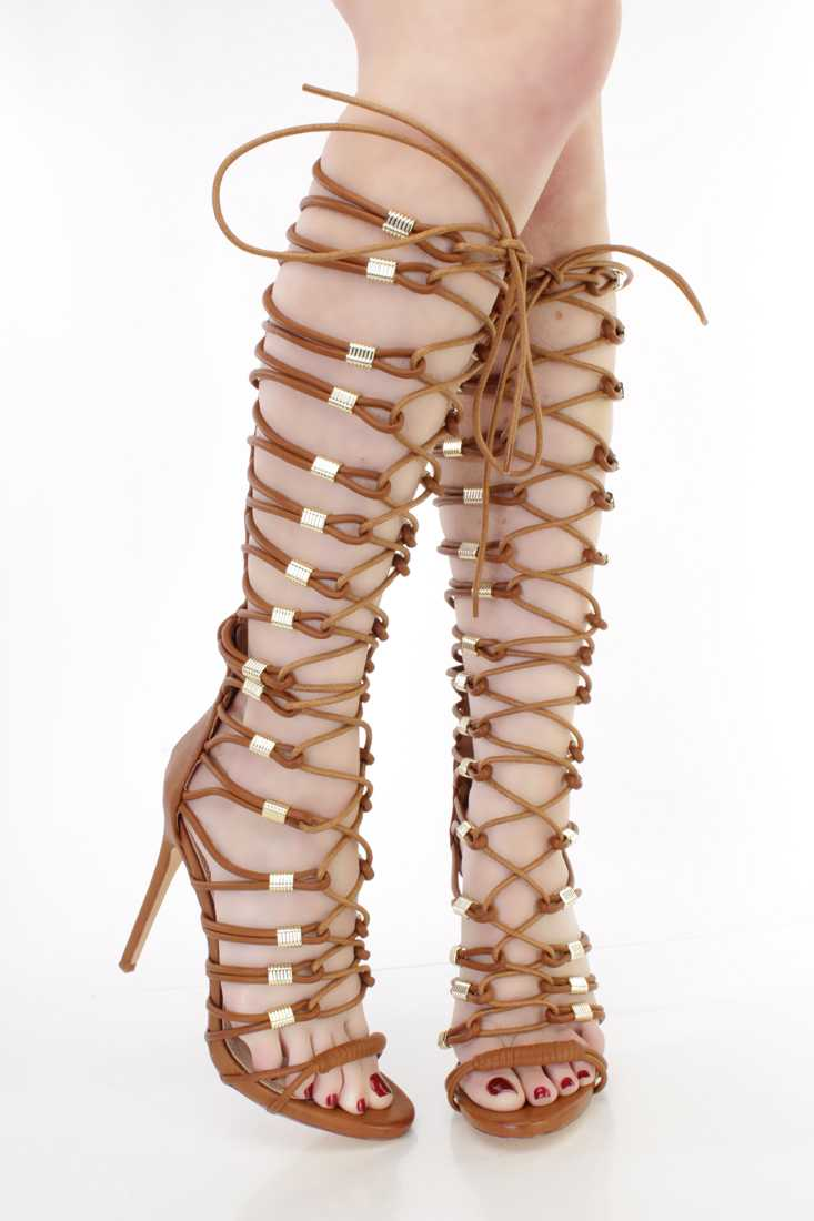 Cognac Lace Up Single Sole Gladiator High Heels Faux Leather