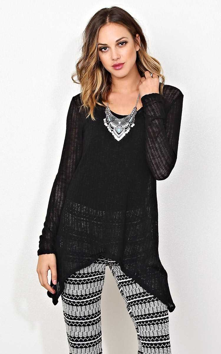Total Relaxation Eyelet Knit Tunic - MED - Black in Size Medium by Styles For Less