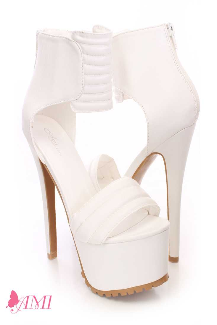 White Strap Platform High Heels Faux Leather