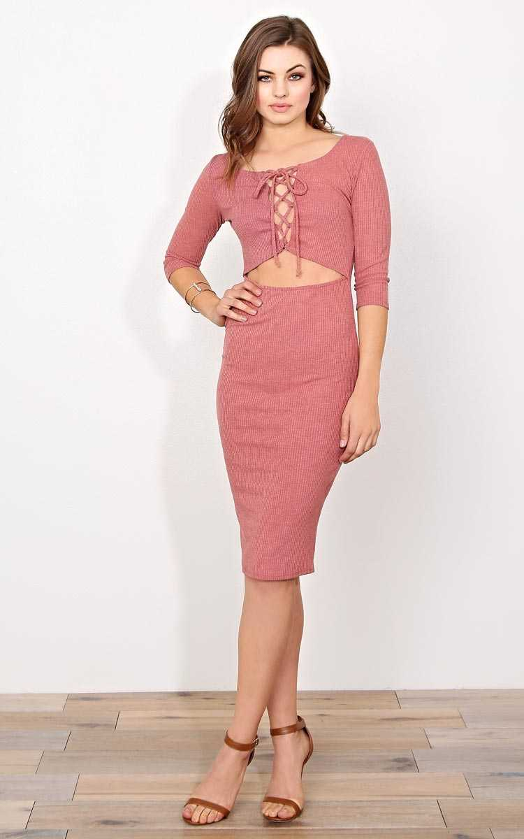 Bare With Me RibKnit Midi - MED - Dusty Rose in Size Medium by Styles For Less