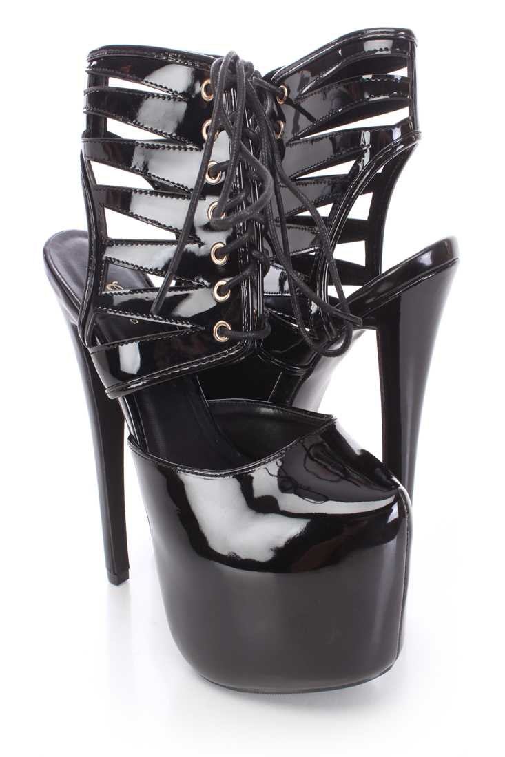 Black Lace Up Platform Booties Patent