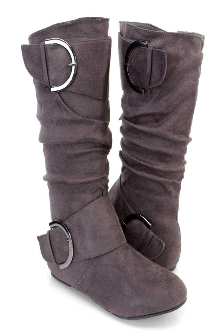 Grey Buckle Strappy Casual Boots Faux Suede