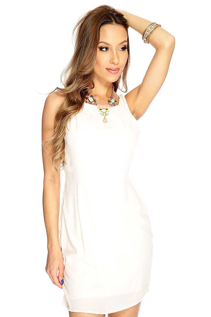 Beige Sleeveless Cage Back Party Dress