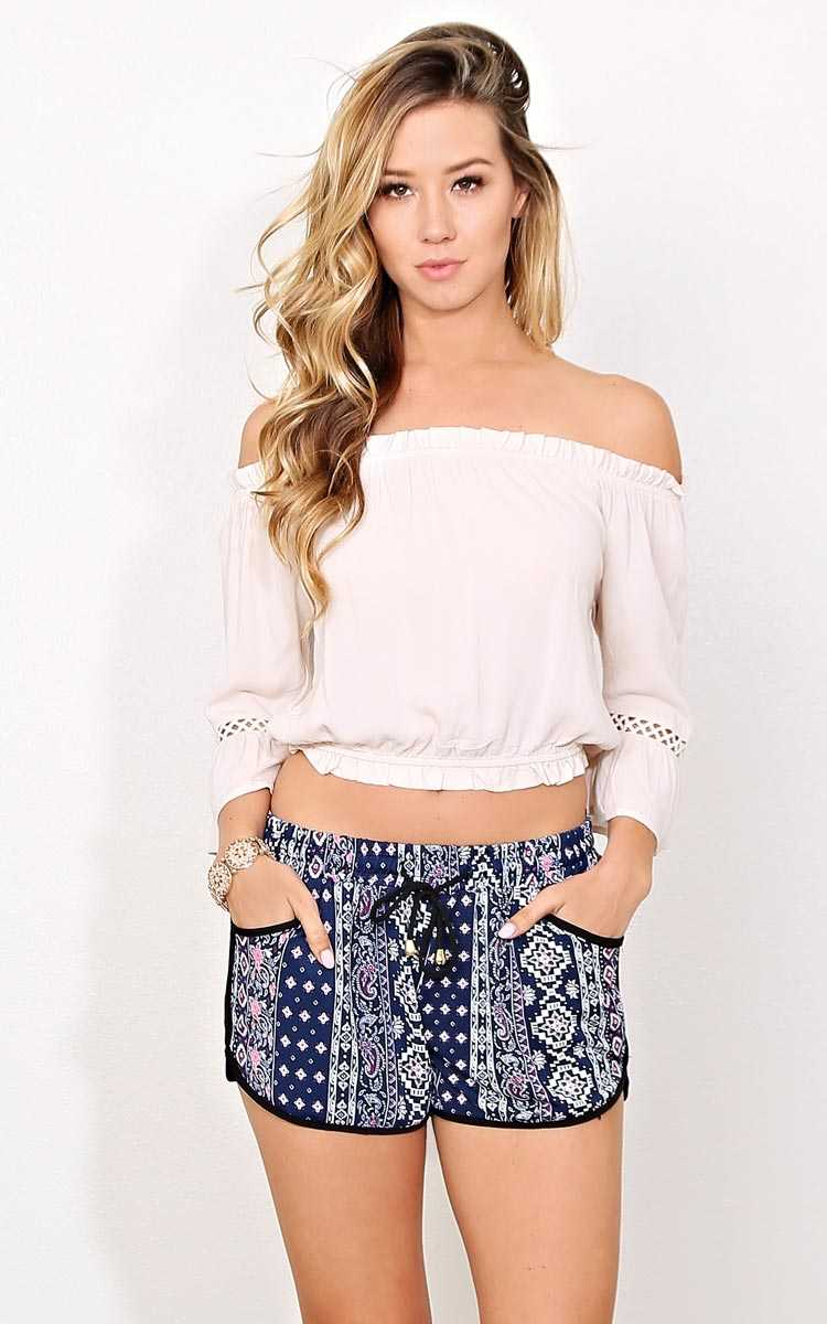 Warm Embrace Woven Gauze Top - MED - Natural in Size Medium by Styles For Less