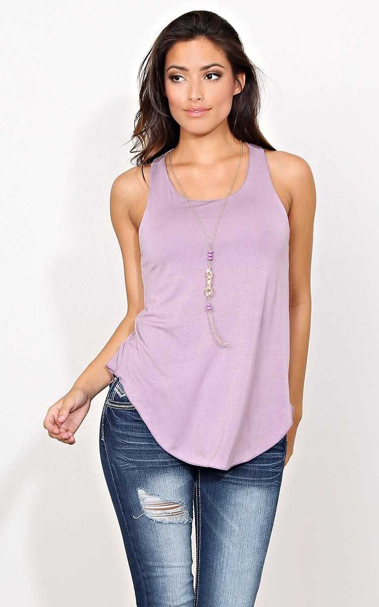 Priscilla Knit Necklace Tank - - Dusty Plum in Size by Styles For Less