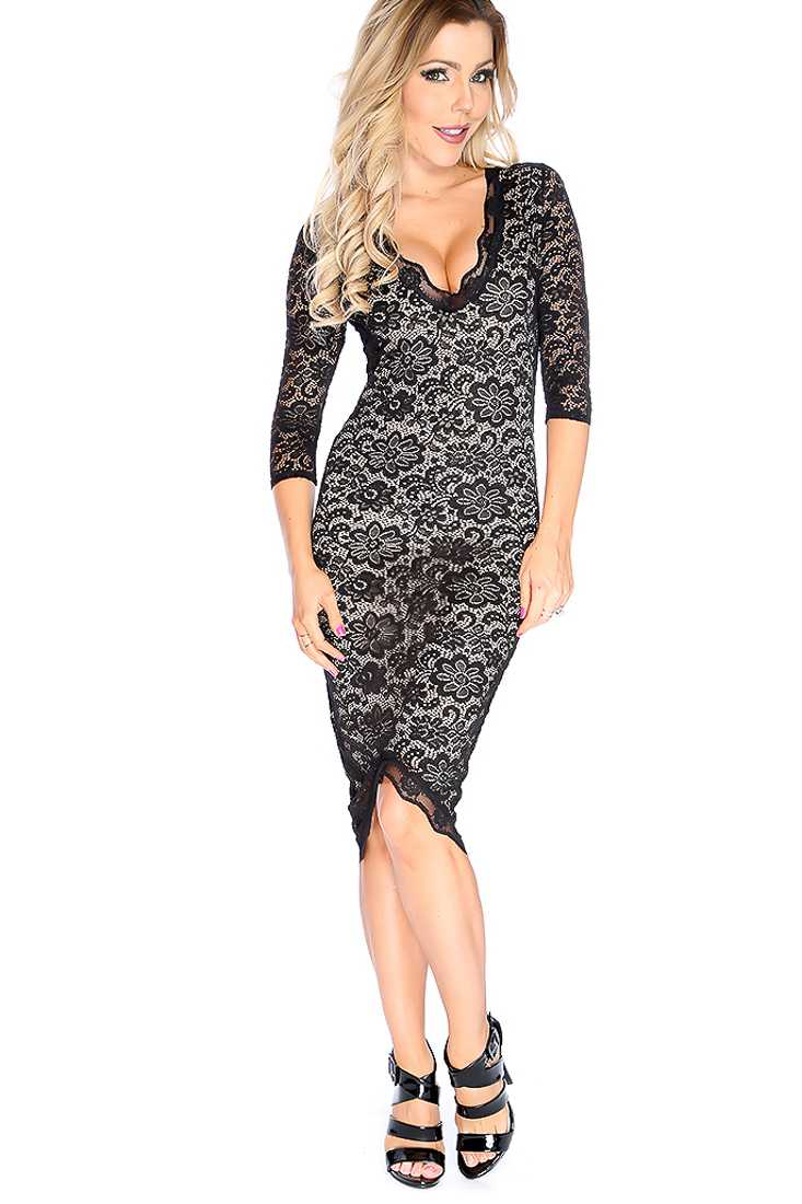 Sexy Black Quarter Sleeve Floral Lace Overlay Cocktail Dress