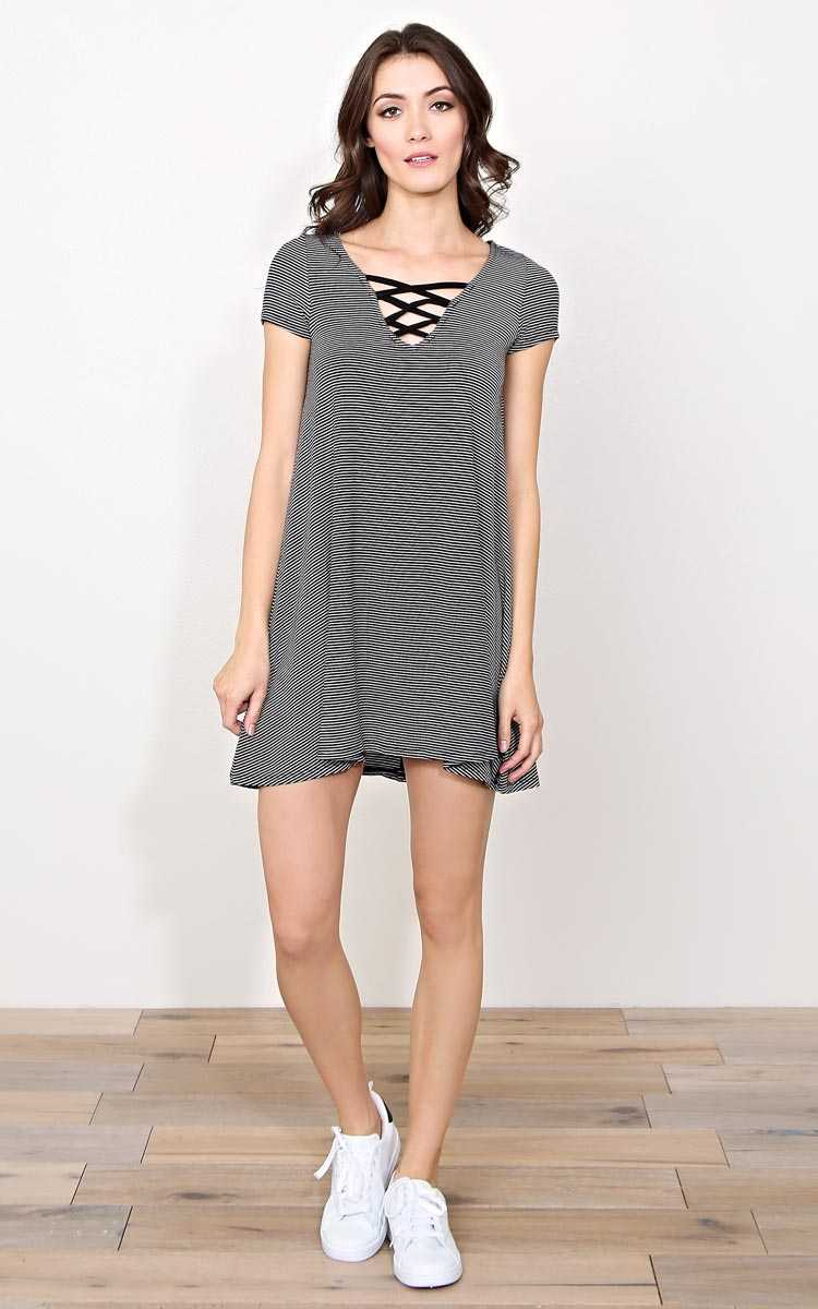 On The Rise Knit Dress - - Black/White in Size by Styles For Less