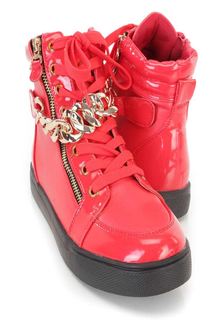 Red Lace Up Zipper Accent Sneaker Flats Faux Leather
