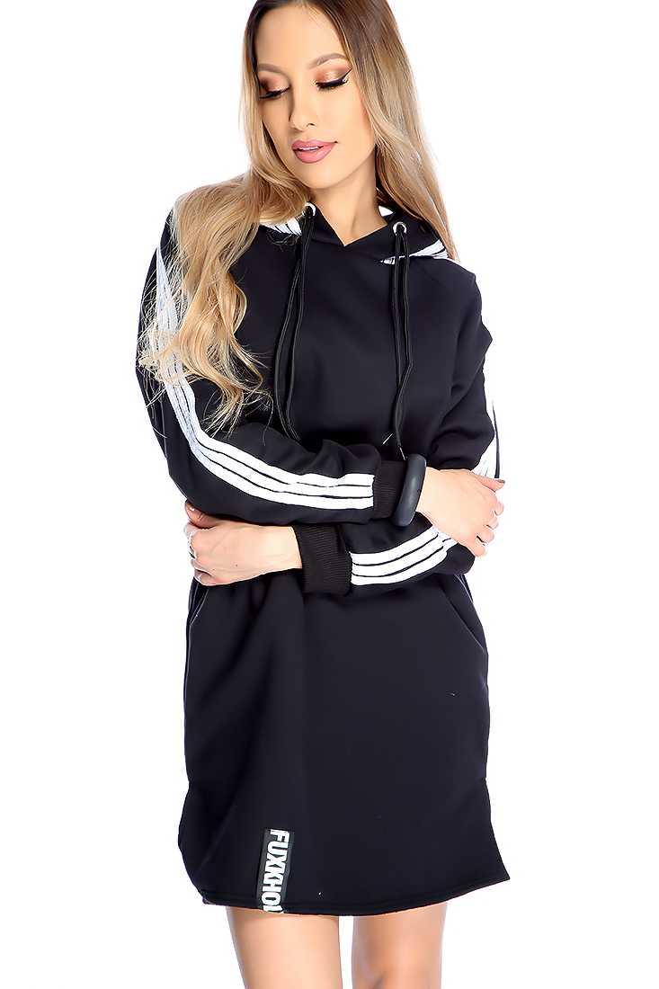 Black Stripe Pattern Casual Tunic Hoodie Sweater Dress