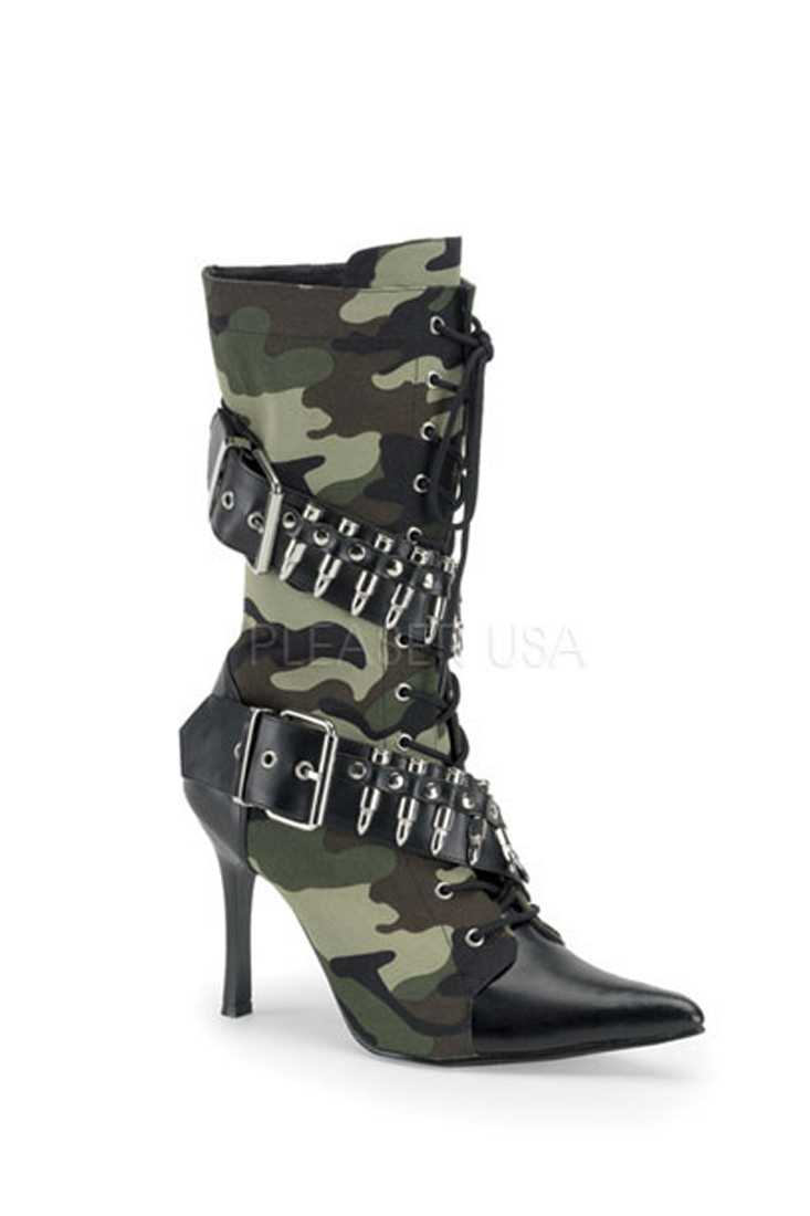 Camouflage Bullet Strappy Single Sole Boots Canvas