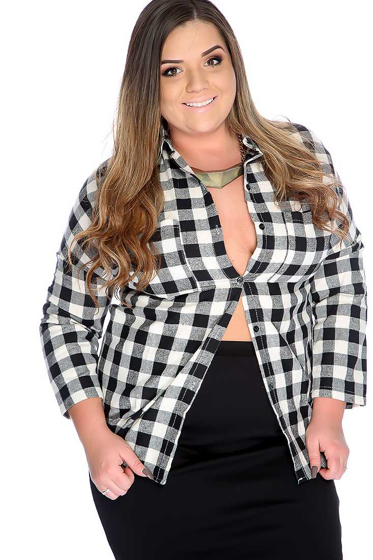 Plus Size Black White Long Sleeve Flannel