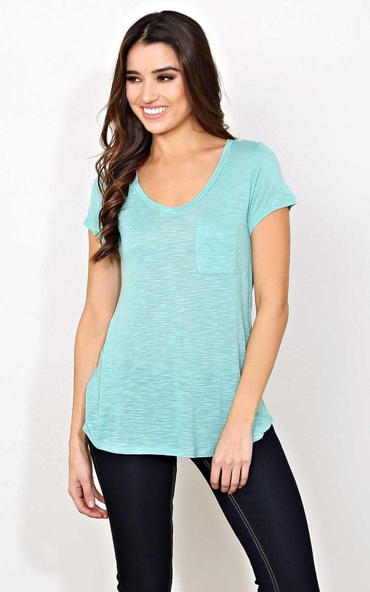 Mint V Neck Pocket Tee - - Dusty Mint in Size by Styles For Less