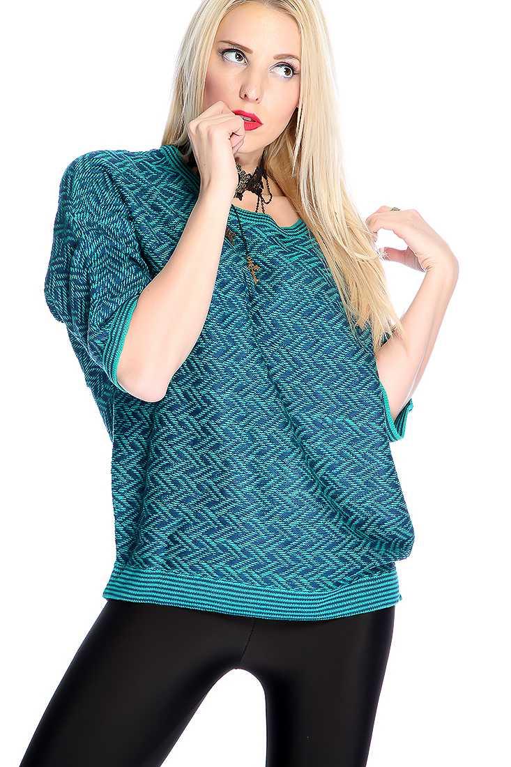 Jade Navy Short Sleeve Chevron Print Causal Sweater Top