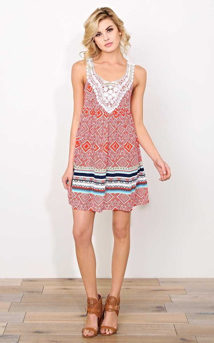 Roswell Woven Babydoll Dress - MED - Orange Combo in Size Medium by Styles For Less