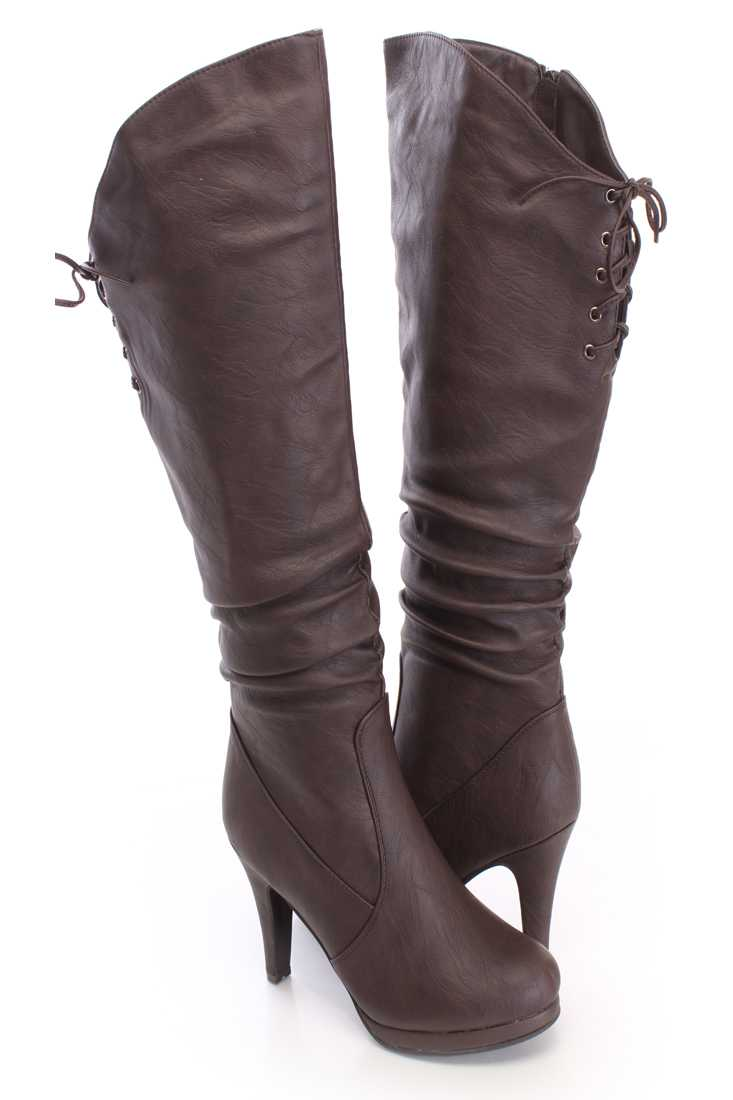 Brown Slouchy Knee High Boots Faux Leather