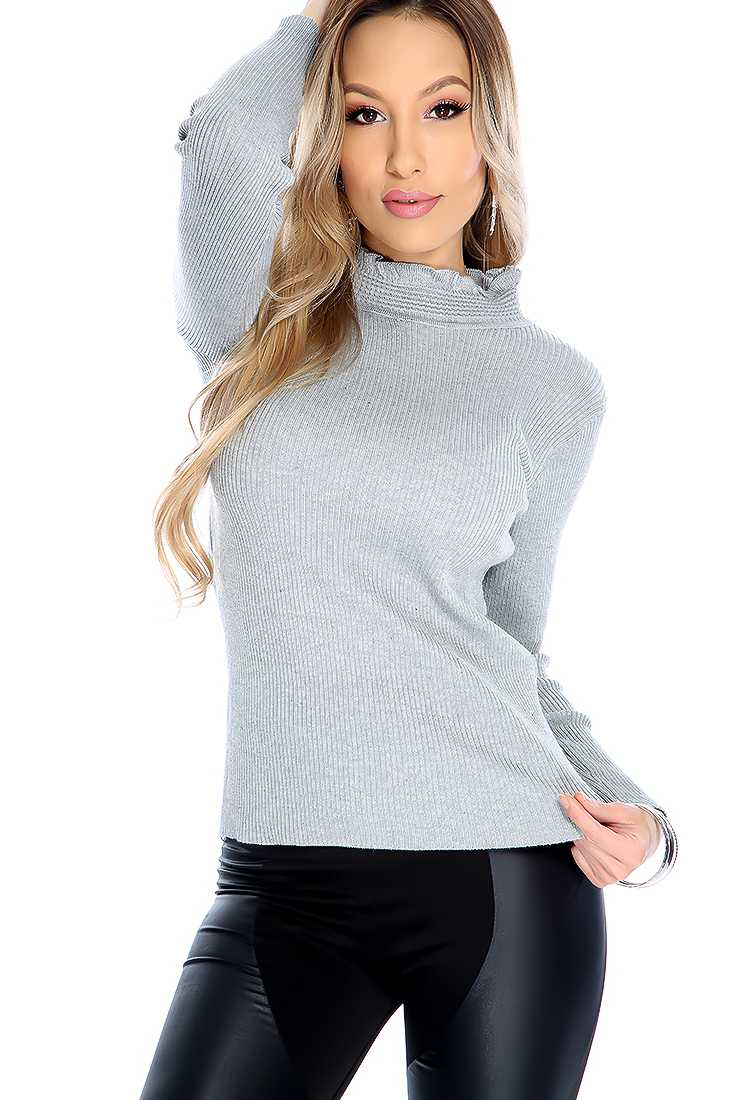 Stylish Grey Quarter Sleeve Mock Neck Top