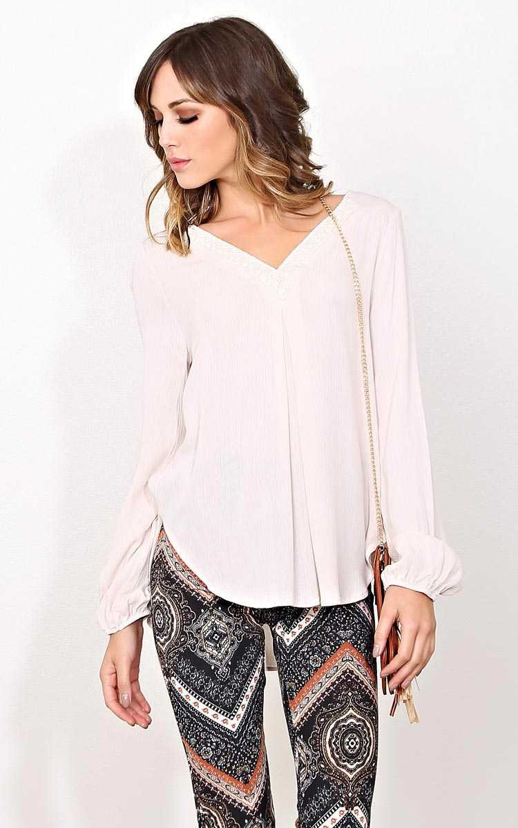 Ivory Chill Woven Gauze Top - - Ivry/Natrl in Size by Styles For Less