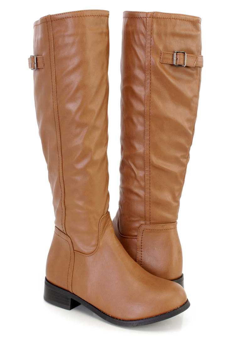 Taupe Knee High Riding Boots Faux Leather